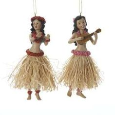 From the Beach Party Collection Item You'll be dreaming of a tropical Christmas with these Hawaiian-inspired ornaments featuring hula girls donnin Coastal Christmas Decor, Unique Christmas Decorations, Christmas Themes, Hawaiian Christmas Tree, Tropical Christmas, Summer Christmas, Christmas Stuff, Christmas Crafts, Beach Ornaments