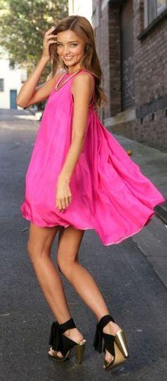 Miranda Kerr Pink Flowy Little Dress