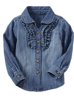 Old Navy Tiered Ruffle Chambray Shirts For Baby