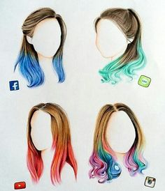 Social Media Hairstyles By: @han_yoora _ Follow @rtistic_empire & @artistic_unity_ by universeofartists (Cool Art)