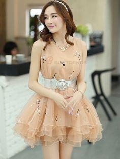 Sleeveless Belt Ball Gown Floral Dress Casual Dress For Women