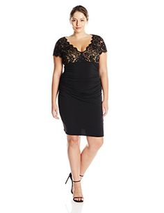 JS Boutique Womens Lace Short Sleeve Jersey Cocktail Dress Black Nude 14 >>> Click image to review more details.