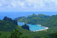 Hatiheu Bay as seen from the mountain pass in Nuku Hiva - Marquesas Islands Nuku Hiva, Tahiti French Polynesia, Society Islands, Paradise Found, Cook Islands, South Pacific, Beach Photos, Travel Photography, Beautiful Places