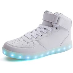 Amazon.com | NIKOO LED Light up Shoes Flashing Rechargeable Sneakers... ($35) ❤ liked on Polyvore featuring bootie boots, ankle boots, sport boots, short boots and sports boots