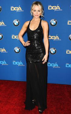 RACHEL MCADAMS in a low-cut, black crystal-embroidered Michael Kors Collection dress with sheer slits, Brian Atwood sandals and a sultry smoky eye at the Directors Guild of America Awards in L.A.
