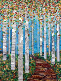 Mandala Vorlagen Items similar to Falling Leaves – Mixed Media Collage Print – Various Sizes – Tree Art – Nature Art – Birch Trees – Aspen Trees -Lisa Morales on Etsy Art Du Collage, Mixed Media Collage, Tree Collage, Club D'art, Art Club, Classe D'art, Art Et Nature, Nature Collage, Nature Artwork