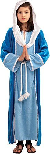 Forum Novelties Biblical Times Deluxe Mary Costume, Child…Biblical Times Deluxe Mary child costume Includes robe with attached headpiece and gown with attached rope belt Child small fits children 39 to 45 inches tall, with a recommended weight range of 38 to 42 pounds Great for Halloween, Christmas, and other dress-up occasions Made by Forum Novelties, a leader in costumes and novelty products for more than 30 years (affiliate link)