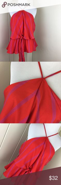 Red and purple layered tie knot halter top blouse Brand new with tags. Size XL. Super cute and different halter tank top blouse. Very unique and so beautiful! Red and purple layered tie knot halter top blouse. Monteau Tops Blouses