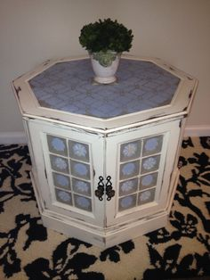 Unique ReStyled Octagonal End Table by vizziBbeauties on Etsy, $90.00