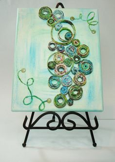 Mixed Media Coiled Paper Canvas Colored by ThePaperBeadBoutique