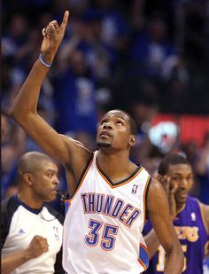 Giving Him Honor! Best part of the pic is Artest in the background // KD celebrates during Game 1 in the second round of the NBA playoffs between the Oklahoma City Thunder and the L.A. Lakers