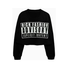 Letters Oversized Crop Sweatshirt In Black Choies (28 CAD) ❤ liked on Polyvore featuring tops, hoodies, sweatshirts, sweaters, shirts, letter shirts, black crop shirt, sweatshirt crop top, black oversized shirt and shirts & tops