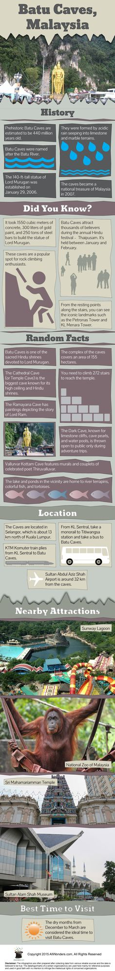 Infographic showing facts and information about Batu Caves. This gives you a comprehensive detail of the place.