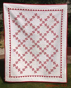Red and White Pinwheel Quilt - Hand Pieced, Hand Quilted - Beautiful!