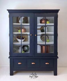 Storage Cabinet, Linen Cabinet, Quilt Closet, China Cabinet, Entryway Cabinet, Modern Farmhouse Navy Blue