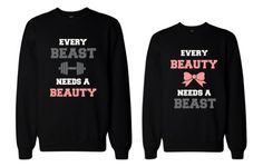 Anniversary Gifts, Wedding Gifts, Valentines Day Gifts, Christmas Gifts, Engagement Party Gifts, and Bridal Shower Gift Ideas - His and Her Beauty and Beast Need Each Other Couple Sweatshirts by 365 in love