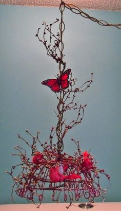 Red+Bird+amd+Butterfly+Hanging+Light+by+Theshabbyshak+on+Etsy