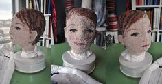 Hooked wool surface sculpture in progress by textile artist Rachelle LeBlanc
