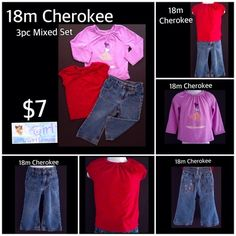 18m Cherokee Baby Girl 3pc Mixed Set Long Sleeve Top, Short Sleeve Red GLITTER Top & Denim Jeans $7 for ALLFREE SHIPPING w/You Buy 5 Items.  SHIPS FAST! Or Pick Up in La Marque⬇️ Click Link To Purchase & Start Shopping Cart ⬇️        Do Not hesitate to comment or message with any questions.  Size & Season Request Welcome, ALL YOU HAVE TO DO IS Message or CALL FOR your personalized Shopping Appointment with Baby Girl Heaven Thank you for Shopping with Baby Girl Heaven