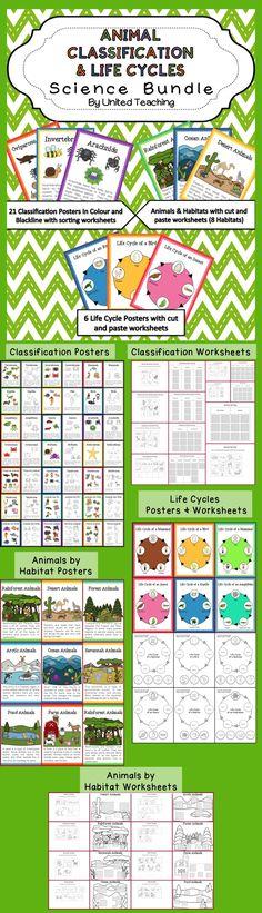 Animal Classification & Life Cycles Science Bundle >> This Bundle includes Animal Classification Posters & Coloring Worksheets, Animal Sorting Worksheets, Animal Life Cycle Posters & Worksheets, Animals by Habitats Posters & Worksheets.