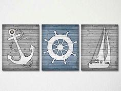 Rústica decoración náutica, arte rústico ancla, timón naves rústicas, azul y blanco decoración rústica, niños guardería náutica Art Rustic baño arte