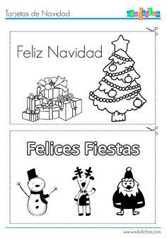 Tarjetas de Navidad infantiles, para recortar  http://www.edufichas.com/tarjetas/navidad-tarjetas/tarjetas-para-colorear-de-navidad/  #recortar #preescolar #navidad #tarjetas