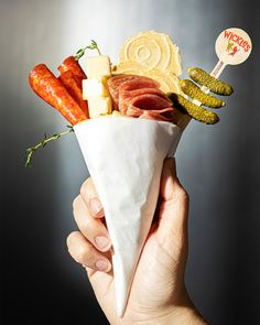 Build your own single-serving charcuterie cone at home. We built ours with Toasted Onion 34 Degrees Crisps and Wickles Dirty Dill Cocktail Cornichons. Cracked Pepper, Food Trays, Savory Snacks, Charcuterie Board, Cravings, Crisp, Appetizers, Tasty, Stuffed Peppers