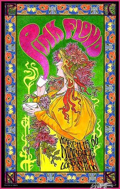 Pink Floyd, London 1966. Art by Bob Masse. One of my favorite concert posters from this era!
