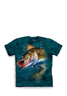 Walleye Adult T-Shirt - Quality tee shirts preshrunk and dyed using a unique process that produces an image with incredible detail with an amazingly soft feel. The image is screen printed with water-based dye. Funny Fishing Shirts, Fishing Humor, Walleye Fishing, 3d T Shirts, Cotton Tee, Graphic Tees, Classic T Shirts, Clothes For Women, Mens Tops