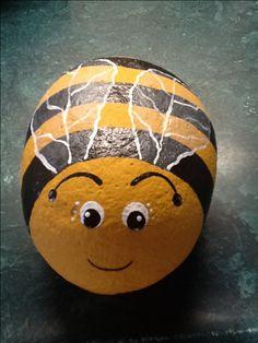 Painted rock bee