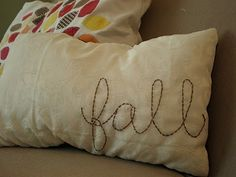 Easy Fall Decorating Ideas - including this great pillow