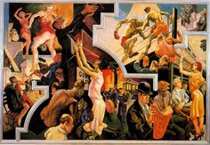"'America Today.  City Activities with Subway ""Thomas Hart Benton (1889-1975, United States)"