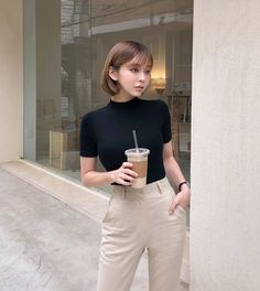 Basic Mock Turtleneck Tee - I know you wanna kiss me. Thank you for visiting CHUU. Korean Girl Fashion, Korean Fashion Trends, Korean Street Fashion, Asian Fashion, Fashion Men, Fashion Fall, Ulzzang Fashion Summer, Korean Fashion Summer, Latex Fashion