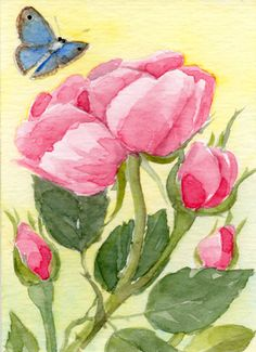 Floral Art Watercolor painting Original ACEO Flower by TheRedBerry