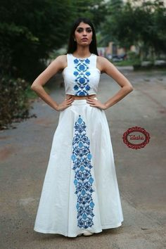 White dress with blue printed design