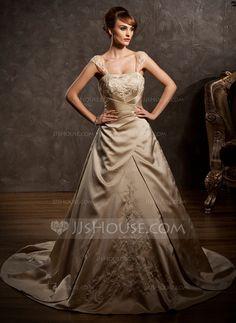 Wedding Dresses - $206.99 - A-Line/Princess Sweetheart Court Train Satin Wedding Dress With Embroidery Ruffle Beadwork (002011554) http://jjshouse.com/A-Line-Princess-Sweetheart-Court-Train-Satin-Wedding-Dress-With-Embroidery-Ruffle-Beadwork-002011554-g11554?ver=1
