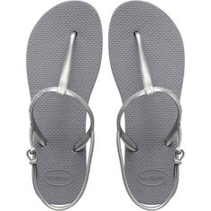 Havaianas Sandals Gray Thong Sandals With Silver Straps - Freedom... ( 32) 080a4d254f250