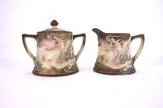 Vintage Nippon China Dragonware Moriage Cream and Sugar Set -- Japanese Porcelain -- Handpainted Nippon Creamer and Sugar Bowl -- CA0800 by Revendeur on Etsy