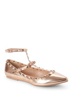 Wild Diva Rose Gold Pippa Pointed Toe T-Strap Flats
