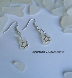 White sea glass earrings. Seaglass beach by EgyptianInspirations, $21.99