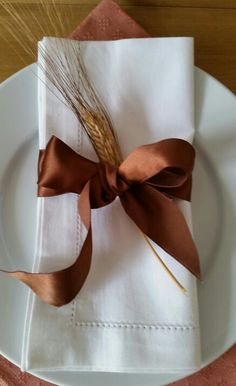 Fall, Thanksgiving Table Decor ~ Rust silk ribbon & wheat on white linens