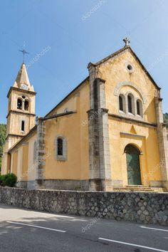 Mediterranean church in Maticcia, Corsica, France. Aquitaine, Corsica, Loire Valley, Rhone, Birds In Flight, Countryside, Facade, Technology, Stock Photos