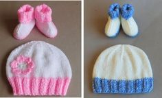 Knitted Baby Hug Hat And Booties [FREE Knitting Pattern]