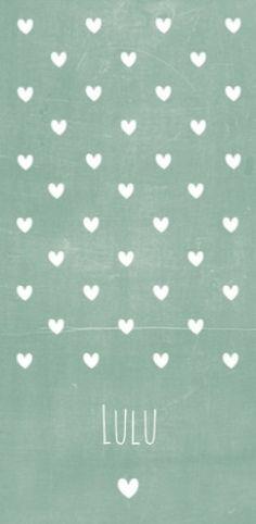 Geboortekaartje hartjes groen Lulu - LD voor