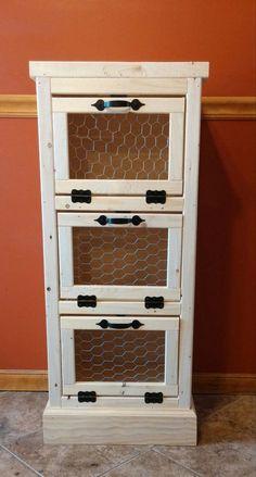 3 Door Vegetable Bin,  Handmade Wooden, Potato and Onion Bin, Rustic Country, Kitchen Pantry Organizer and Storage,  Bread Bin, Home Decor