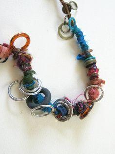 recycled sari silk ribbons wooly yarns rings and by judycorlett, $80.00