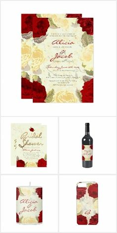 Painted Red & Ivory Roses Wedding