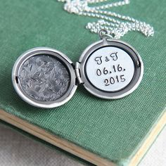 Personalized Locket Necklace Wedding Date Necklace Initial