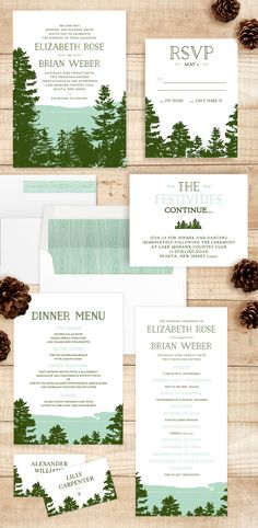 Rustic Brides will love this Mountain View wedding invitation by Ariel Rutland. Perfect for the couple throwing an outdoor cottage or summer camp style wedding.