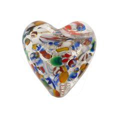 Gold Foil Klimt Heart 20mm Puffy Wholesale Venetian Glass Beads, Murano Glass Beads, Blown Beads, Lampwork Beads, Millefiori